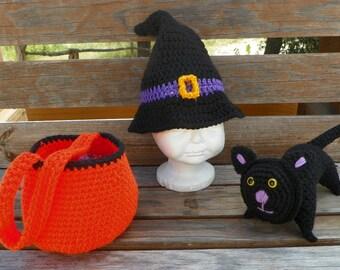 Halloween hat and bag set