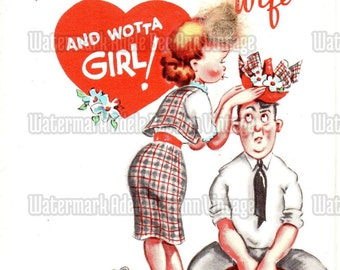 Vintage Valentine's Day Greeting Card Circa 1940s Sweet Nothing Love Note For Her Wife Humor Funny