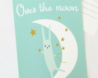 Over the Moon postcard, Blank Note card, bunny, animal illustration, stars, new baby, congratulations, engagement, I love you, happy for you