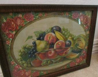 Victorian framed fruit picture