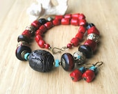 Tribal Carved Bone Horn Red Coral Turquoise Large Tibetan Nepalese Necklace Earring Set OOAK.