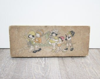 Antique french cardboard box, Boite carton ancienne, France, 1920, Vintage home decor, Photo, Paper ephemera