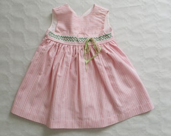 Vintage french baby girl dress, 6-9 months, 1950-1960, Pink, Robe rose, Mid century, France, Paris
