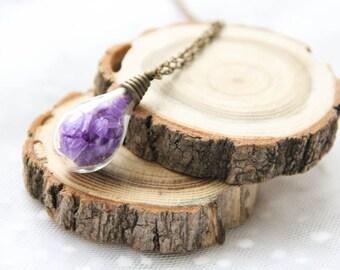 Terrarium Purple Bottle Necklace, Preserved Flower Bottle Pendant, Real Dried Flower Pendant, Valentine Gift For Her, Romantic Jewelry Gift