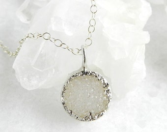 druzy necklace, white druzy, layering necklace, round pendant, silver necklace, sterling silver, dainty, minimal jewelry