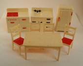 Vintage Renwal Dollhouse Furniture -- Kitchen Sink, Red Accents on Stove, Refrigerator, Table and 4 Chairs, Midcentury