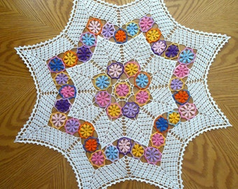 Handmade White and Colorful Star-Shaped Crochet Doily: Spring Medley