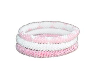 Pink and White Crocheted Beaded Bracelet Set, Handmade in Nepal, Seed Beads