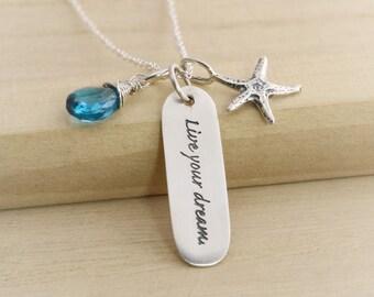 Retirement Gift - Retirement Necklace - Graduation Gift - Graduation Necklace - Live Your Dream - Sterling Starfish - Retirement Jewelry