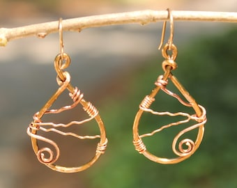 Hammered Copper Wire Earrings with Spiral