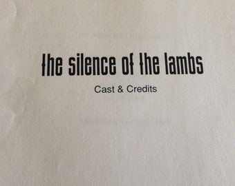 Press Kit for Silence of the Lambs, 1991.