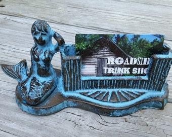 Cast Iron Mermaid Business Card Holder - Desk Accessories, Business Card Holder, Nautical Desk Accessories, Business Card Display, Mermaid