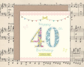 Personalised Pretty 40th Birthday Card