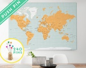 Large World Map CANVAS Choose Color - Countries, Capitals, USA and CANADA states - Push Pin Travel Map, Pin It Map, 240 Pins