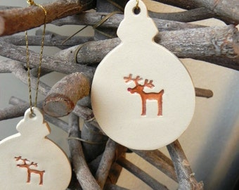 Christmas Ornaments Rudy Pottery Reindeer  Winter Decoration Ceramic Ornament Set of 2  Gift