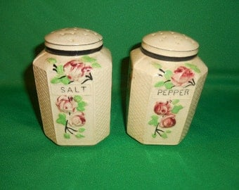 One (1),  Large, Salt & Pepper Shaker Set, with Cherry Blossom Decoration.  Made in Japan.