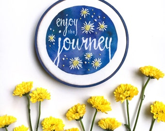 Enjoy the Journey Embroidery Hoop Art, Cheerful Blue Farmhouse Country Flowers, Wildflowers French Country Decor, Country Home Daisy Art