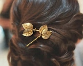 Decorative Hair Pins 1950's Bridal Jewelry Woodland Rustic Golden Leaf Leaves Green Rhinestone Fairy Faerie Hairpins Bobby Pins, BSK