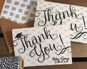 Custom MODERN Thank You Note Cards - Graduation - Class of - iKat - Personalize - Grad Cap - Recycled  - Eco - Lined Envelopes - Gift Set