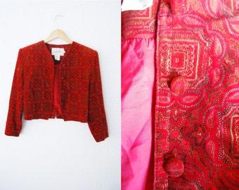 Vintage 1990s Plush Retro Print Regal Cropped Jacket Blazer Coat / Mod / Red