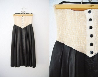 Vintage 1980s Black White Prom Party Dress Strapless Sweetheart NYE Colorblock