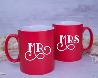 10% OFF Duo! MR and MRS Couple's Mugs - A Perfect Valentines or Wedding Gift
