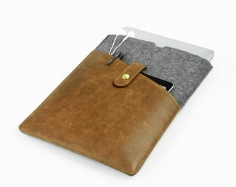 "Felt & leather laptop sleeve Macbook 13"" Air case Macbook 11"" cover Laptop Case Leather iPad case iPad Pro cover notebook sleeve CustomE2225"