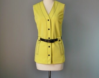 Mod Yellow Vest / Vtg 70s / Paula Brooks Top Stitched Belted Yellow Vest / Blue and Yellow