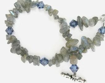 Labradorite Bracelet  beaded  handmade jewelry  gemstone chip bracelet  Swarovski crystal  gift for her Birthday Mother's Day gift blue gray