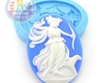 Greek Mythology Artemis Portrait Cameo 40x30mm Silicone Bakery Push Flexible Mold 284L* BEST QUALITY
