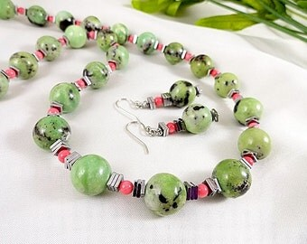 Green Turquoise And Pink Coral Necklace Green Necklace Turquoise Necklace Set Gemstone Jewelry Birthday Gift For Her JewelryByPJ