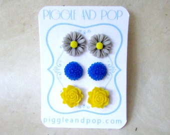 Flower Stud Earrings, Blue Yellow and Grey, Royal Blue Dahlia Earrings, Yellow Rose Studs, Gray Gerber Daisy Stud Earrings, Floral Post Set