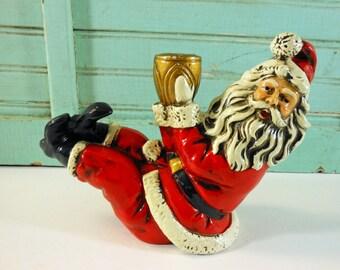 Vintage Composite Sitting Santa Candle Holder Made in Japan