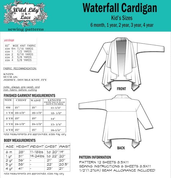 KIDS SEWING PATTERN for Waterfall cardigan kids cardigan