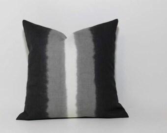 Ombre stripe Petite Square pillow cover. Grey & cream.  Robert Allen home decor designer fabric. Neutral home decor