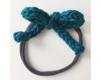 Knit Bow on Elastic band for Babies, Dark Teal Knit Bow Headband, Bow Baby Head Band, Newborn Knit Headband, Frankie Bow