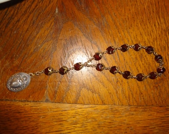 Sacred Heart red glass hand rosary