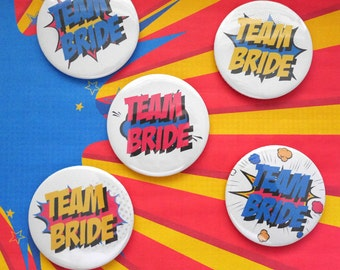 Team Bride - Wedding Badge - Hen Night - Super Powers - Wedding Party - Superhero - Comic Book -  Geek Hen Party -Bridal Bouquet Alternative