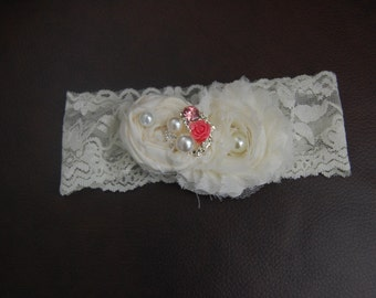 Newborn Preemie Shabby Chic/Vintage Style Headband with handrolled flowers accented with a rhinestone, pearl button on a lace headband