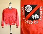 1980s Vintage Wide World Of Sports Red Satin Jacket size XL chest size 54