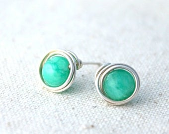 Green Quartzite and Sterling Silver Post Earrings / Wire Wrapped Jewelry / Simple Silver Jewelry / Gifts under 20 / E307