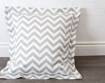 "26x26"" Grey and White Chevron Euro Pillow Sham with 2"" Flange"