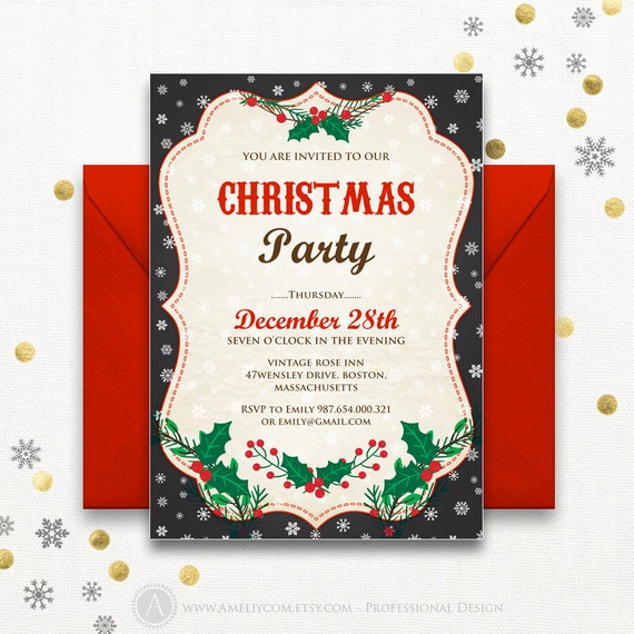 Holiday party invitations Rustic Chalkboard Printable Winter - photo #27