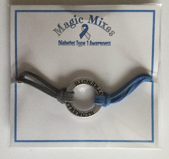 Diabetes Awareness Bracelets, with blue ribbon charm