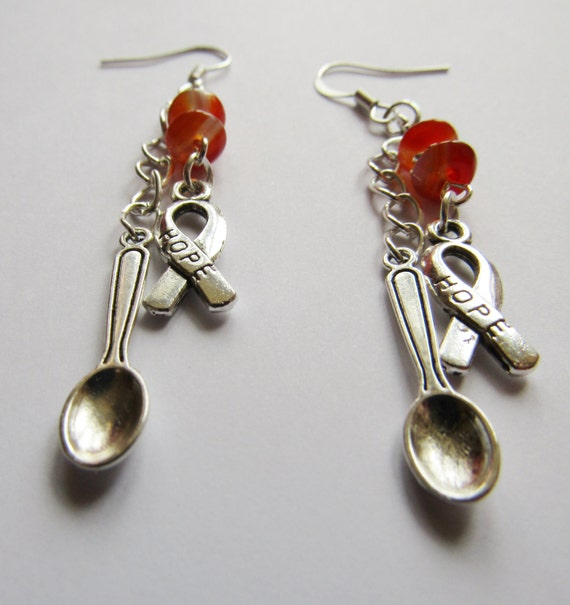 Spoonie Earrings, MS Awareness Earrings, Carnelian Healing Earrings