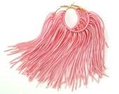 Pink Fringe Hoops