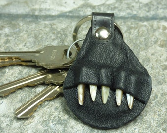 Key Ring Hand Made Black Leather Fob With Teeth Key Purse Charm  Harry Potter Labyrinth Monster