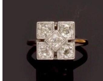 5 stone diamond panel ring