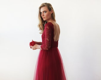 Bordeaux tulle and lace open back gown, Lace  backless and tulle gown 1122