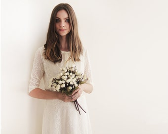 Ivory long sleeves lace bridal top , Ivory bridal lace top